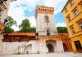 St florian s street florianska street gates in summer in krakow poland Royalty Free Stock Photography