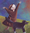 St. francis and the wolf Stock Photography