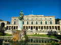 St george palace in corfu island greece blue sky the yard and the garden and a statue Royalty Free Stock Image