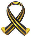 St george ribbon in black and yellow color isolated vector illustration Royalty Free Stock Photography