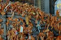 St. George's ribbons on the gates of the Cathedral. Royalty Free Stock Photo