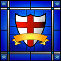 St george shield in stained glass window depicting s april rd is s day Stock Images