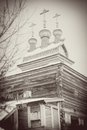 St george the victorious church wooden in kolomenskoye moscow russia in winter vintage style sepia photo Stock Photo