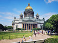 St isaac cathedral in saint petersburg russia july park front of with people walking around a nice summer day Stock Photography