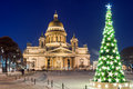 St isaac s cathedral and christmas tree petersburg russia january in winter Royalty Free Stock Images