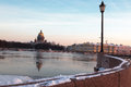 St isaac s cathedral view across the neva river from the vasilievsky island russian winter twilight Royalty Free Stock Images