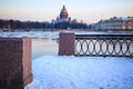 St isaac s cathedral view across the neva river from the vasilievsky island russian winter twilight Stock Photo