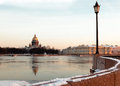 St isaac s cathedral view across the neva river from the vasilievsky island russian winter twilight Royalty Free Stock Photography