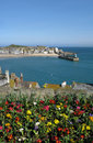 St. Ives harbour and colourful spring flowers. Stock Images