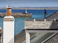 St ives smeaton s pier and rooftops view across harbour in cornwall england across Royalty Free Stock Photos