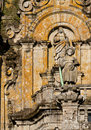 St james as a pilgrim with his sword figure of dressed hat staff and in the facade of the cathedral of santiago de compostela Royalty Free Stock Photo