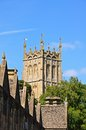 St james church chipping campden tower with the almshouses rooftops in the foreground the cotswolds gloucestershire england uk Stock Photography