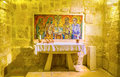 The st jerome s chapell bethlehem israel february with mosaic formarly was cell where work under translation of bible on Stock Images