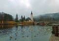 St john baptists church at bohinjska jezero winter morning bohinj lake Royalty Free Stock Photo