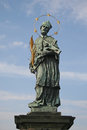 St. John of Nepomuk Statue on Prague Charles Bridge, Czech republic Royalty Free Stock Photo