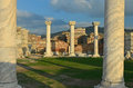 St john s basilica evenig falls on the ruins of where he was buried in ephesus turkey Royalty Free Stock Images
