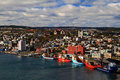 St john s newfoundland harbour and town visible are basilica of the baptist the rooms andrew church the baptist anglican Royalty Free Stock Images