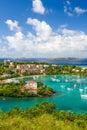 St. John, USVI - Beautiful Blue Skies in Cruz Bay Royalty Free Stock Photo