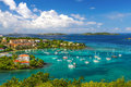 St john usvi beautiful cruz bay a wonderfully colorful view from above the fleet of sailboats and yachts anchored the harbor in on Royalty Free Stock Photos
