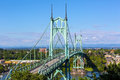 St Johns Bridge over Willamette River in Portland Oregon Royalty Free Stock Photo