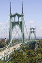 St johns bridge for vehicles over willamette river and bicycles in portland oregon Stock Image