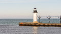 St. Joseph North Pier Outer Lighthouse, MI Royalty Free Stock Photo
