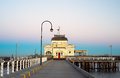 St kilda kiosk on sunrise a photo of a pier in melbourne australia Stock Photography