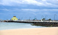 St kilda pier and pavilion winter scene of off the beach at melbourne Royalty Free Stock Photography