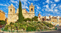 St lawrence church in birgu malta fine baroque architechture the evening under bright sun Royalty Free Stock Image
