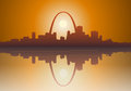 St louis city sunset illustration of a foggy missouri over the mississippi river eps version includes some transparencies Royalty Free Stock Image