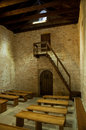 St Lucia church at jurandvor inside with benches - Baska Stock Images