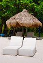 St. Lucia - Two Beach Lounge Chairs Royalty Free Stock Photography