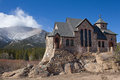 St malo church on the rocks allenspark colorado with mt meeker in background Royalty Free Stock Photos