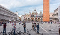 St mark s square in venice italy june marks piazza san marco is a popular gathering place that draws thousands of tourists each Stock Photography
