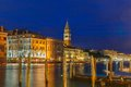 St marks campanile and grand canal night venice at italy Stock Image