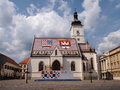 St marks church in zagreb croatia june on square one of oldest churches and symbol of with poster republic Stock Photography