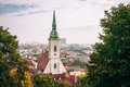 St. Martin`s Cathedral, Bratislava, as seen from the hills aroun Royalty Free Stock Photo