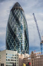 St mary axe aka the gerkin in london uk august skyscraper city of was designed by norman foster and arup Royalty Free Stock Photos
