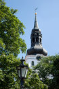 St. Mary Cathedral with clock in Tallinn Royalty Free Stock Photo