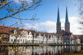 St mary church with branches lübeck the scene of cityscape was shot in the morning is the second largest city in schleswig Stock Photos