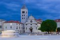 St mary church and monastery at night zadar croatia in zeleni trg Royalty Free Stock Photography