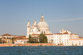 St mary of health church venice the salute basilica and the giudecca canal italy Royalty Free Stock Image