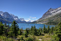 St mary lake in glacier national park wild goose island sits the middle of montana usa Stock Photography