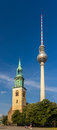 St mary s church and tv tower in berlin germany Royalty Free Stock Photos