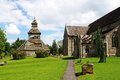 St marys church pembridge view along the side of towards the separate bell tower herefordshire england uk western europe Stock Photo