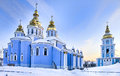 St Michael cathedral in Kiev in snow Stock Photography
