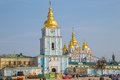 St michael s golden domed monastery kiev ukraine march with barricades still stands in front of it demolished by the soviet Royalty Free Stock Images