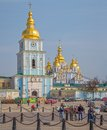 St michael s golden domed monastery kiev ukraine march with barricades still stands in front of it with tv crew filming it Royalty Free Stock Photos