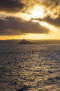 St michael s mount portrait view of cornwall at sunset Stock Photography