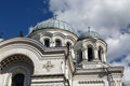St micheal the archangel church kaunas close up view of catholic roman named in on cloudy blue sky background Stock Images